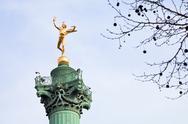 July column on place de la bastille in paris Stock Photos