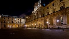 Palais des arts of louvre, paris at night Stock Photos