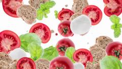 Falling Italian Ingredients as background video (with alpha) Stock Footage