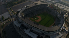Aerial view Chicago Cubs Baseball Stadium, Chicago, USA Stock Footage