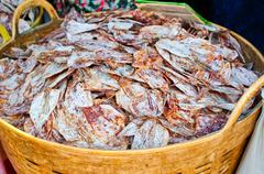 Sea food at market. selling dry calamari in thailand Stock Photos