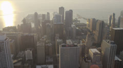 Aerial view of skyscrapers on waterfront, Chicago, USA Stock Footage