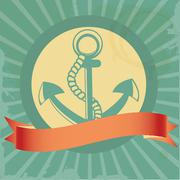 Vintage background with anchor - stock illustration
