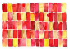 Red and yellow geometric watercolor Stock Illustration