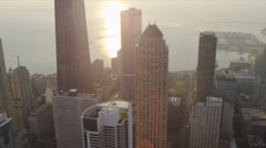 Stock Video Footage of Aerial view of skyscrapers on waterfront, Chicago, USA