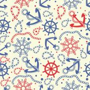 Seamless pattern with  anchors - stock illustration