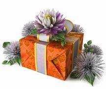 Loma kukat lahjapaketti eristää valkoinen Piirros