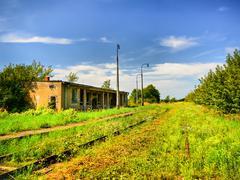 abandoned railway station - stock photo