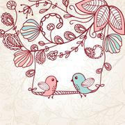 Cute greetings card with birds on a swing - stock illustration