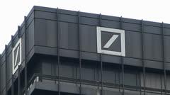 Deutsche Bank at Roßmarkt square Frankfurt am Main Financial district Germany Stock Footage
