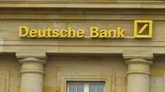 Deutsche Bank at Roßmarkt square statue Frankfurt Germany Stock Footage