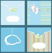 Stock Illustration of Set baby boy announcement card.