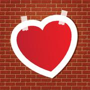 Heart on the brick wall Stock Illustration