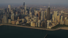 Aerial view Chicago skyline and waterfront, Chicago, USA Stock Footage