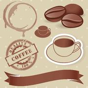 Vector set of vintage coffee elements. - stock illustration