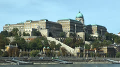 Budapest castle seen across the danube - stock footage