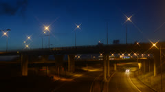 Time lapse traffic travelling on m62 A1/M motorways at dawn leeds uk Stock Footage