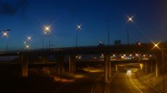 Time lapse traffic travelling on m62 A1/M motorways at dawn leeds uk Stock Footage