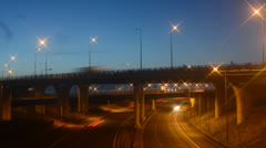 Time lapse traffic travelling on M62 A1/M motorways at dawn leeds, uk Stock Footage