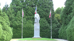 The statue of Marshal Foch at the clearing at Compiègne, France. Stock Footage