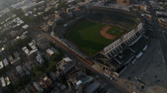 Aerial view Chicago Cubs Baseball Stadium, Chicago, USA - stock footage