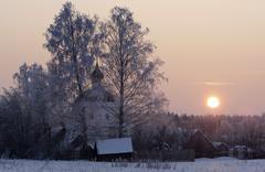 Church at sunset Stock Photos