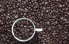 Coffe cup beans Stock Photos