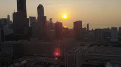 Aerial View Sunrise Over Chicago Skyscrapers, USA - stock footage
