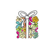 Cute present box from flowers - stock illustration