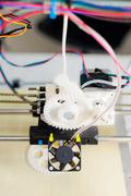 electronic three dimensional plastic printer during work in school laboratory - stock photo