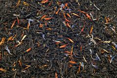 Closeup of black tea leaves Stock Photos