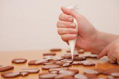 making of traditional homemade christmas gingerbread - stock photo