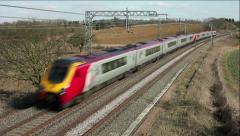 Super Voyager tilting diesel passenger train on the West Coast mainline England Stock Footage