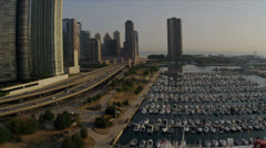 Aerial view Marina Chicago Waterfront, Chicago, USA - stock footage
