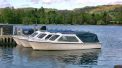 Lake District three motor boats on Coniston water Stock Footage