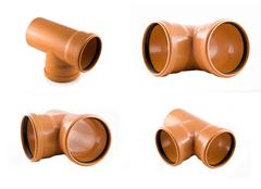 collage of plastic t-branch sewer pipe photos isolated - stock photo