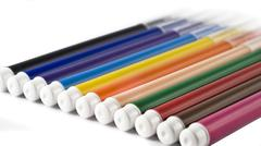 Colorful markers (felt-tip pens) over white Stock Photos