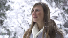 SLOW MOTION: Woman enjoying in winter wonderland - stock footage