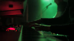 Close-up of a keyboard - steadycam - band - group - pub -bar Stock Footage