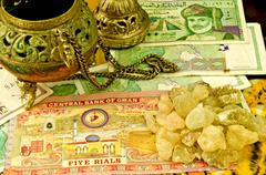 Olibanum with banknotes of oman Stock Photos