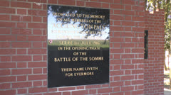 The Accrington Pals Memorial, Sheffield Memorial Park, Serre, France Stock Footage