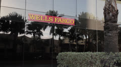Wells Fargo Bank Sign Stock Footage