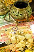 olibanum with banknotes of oman - stock photo