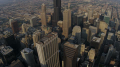 Aerial Sunrise Downtown Financial District, Chicago, USA - stock footage