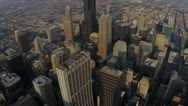 Aerial Sunrise Downtown Financial District, Chicago, USA Stock Footage