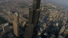 Aerial View Willis Tower High Elevation Chicago, USA - stock footage