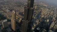 Aerial View Willis Tower High Elevation Chicago, USA Stock Footage