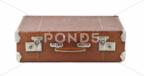 Stock photo of travel  - old-fashioned scratched suitcase (trunk)