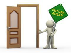 3d man, open door and future ahead sign Stock Illustration