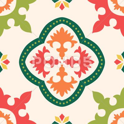 Stock Illustration of seamless colourful ornament tiles